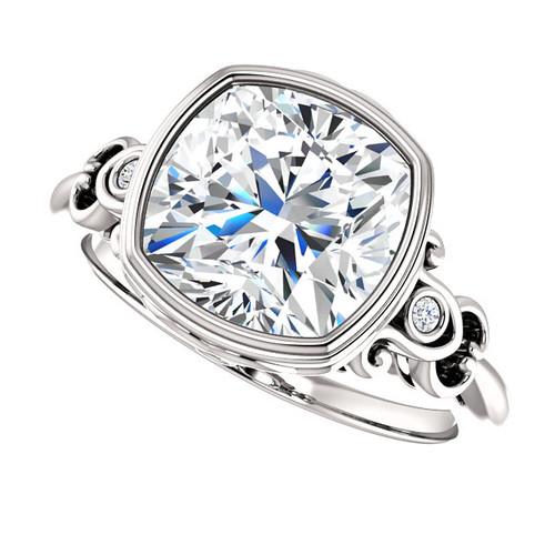 The Loretta Ring Series - Forever One Moissanite Cushion Cut 3.30CT Bezel Set Engagement Ring