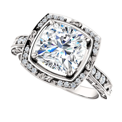 The Debbie Ring Series - Forever One Moissanite Cushion Cut 8mm =  2.40CT Engagement Ring  - Platinum