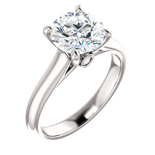 The Amber Ring Series - Eternal Moissanite 2CT Center Round Brilliant Cut Engagement Solitaire Ring With Diamond Bezel Set Accents