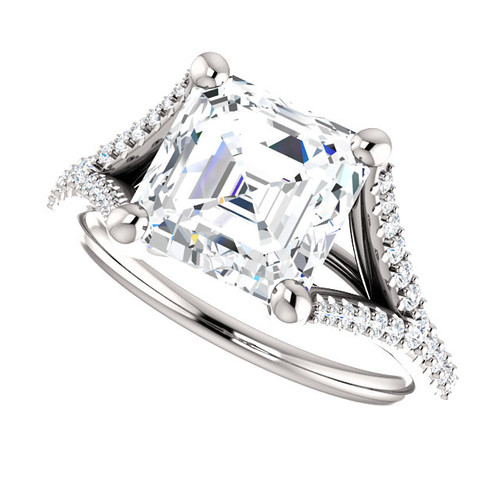 The Bethany Ring Series - Eternal Moissanite 2.30CT Asscher Cut & Diamond Split Shank Engagement Ring - VIDEO BELOW