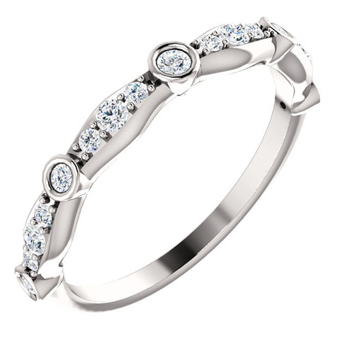 14K White Gold Diamond Wedding Band With Bezel Set Stations