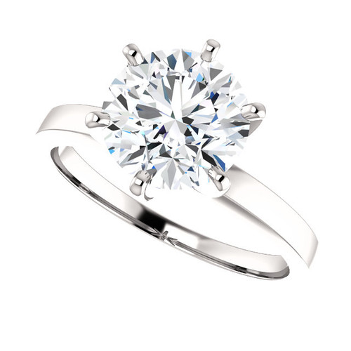 Tiffany Style PLATINUM Solitaire 6 Prong NEO Moissanite 2CT Center Round Brilliant Cut - SEE VIDEO BELOW