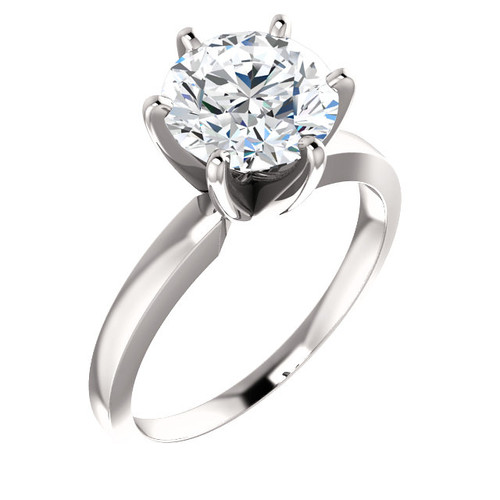 """6 Prong Tiffany Style Solitaire - NEO Moissanite Round """"DIAMOND CUT""""  - THE BEST PRICE ON THE NET!"""