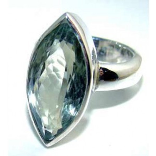 .925 Sterling Silver Marquise Cut Green Amethyst Ring
