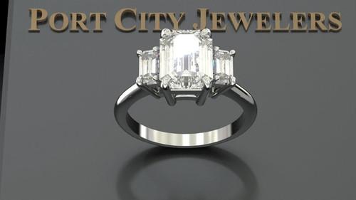 Custom Listing For Christine - Eternal Moissanite 9mm X 7mm Emerald Cut Center 3 Stone Ring