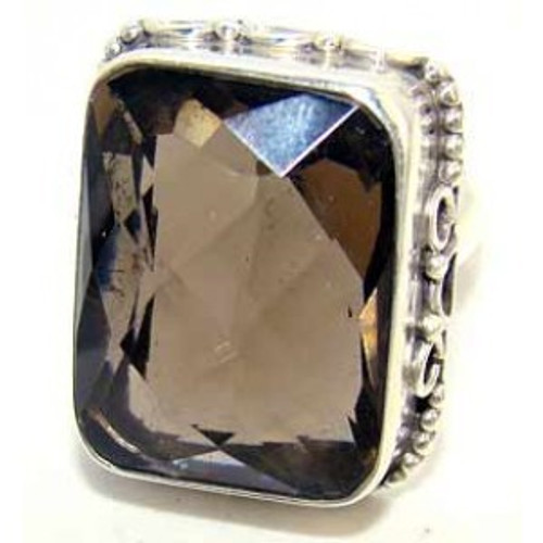 .925 Sterling Silver Rectangular Smokey Quartz Ring