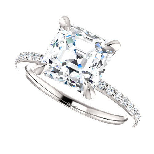 The Charlene Ring Series - Eternal Moissanite 2.20CT Asscher Cut Engagement Ring With Diamond Accents - VIDEO BELOW