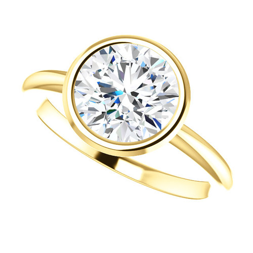 The Ellis Ring Series  - NEO Moissanite 2CT Round Diamond Cut Engagement Bezel Set Ring