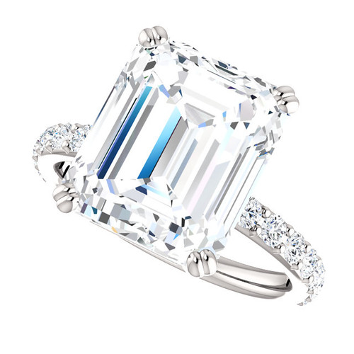The Beverly Ring Series - Eternal  Moissanite 7CT Center Emerald Cut GH Color with Diamond Sides