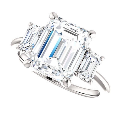 The Allie Ring Series  - Eternal  Moissanite 3.50CT Center Emerald Cut Three Stone Engagement RIng