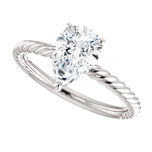 The Darla RIng Series - NEO Moissanite 1.50CT Pear Cut Cabled Solitaire Engagement Ring