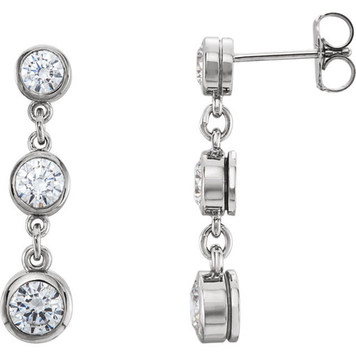 14K Forever One 6mm = 1CTW Moissanite Bezel Set 3 Station Drop Earrings