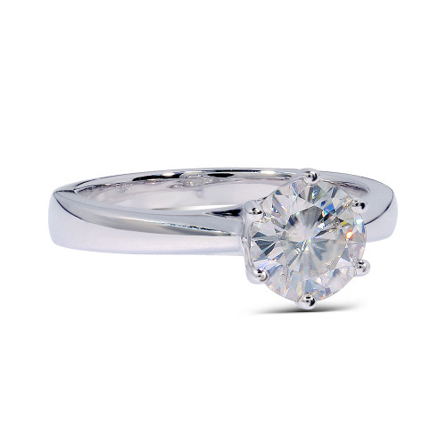 The Brooklyn Ring Series - 14K White Gold Eternal Moissanite 2CT Round Brilliant Cut Solitaire Engagement Ring - VIDEO BELOW