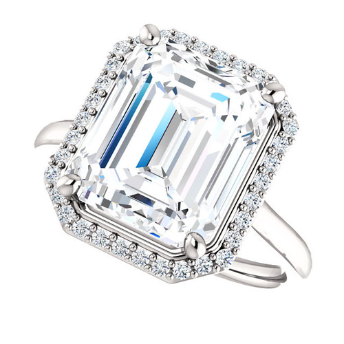 The Lila Ring Series - Eternal  Moissanite 4.70CT Center Emerald Cut GH Color with Diamond Halo