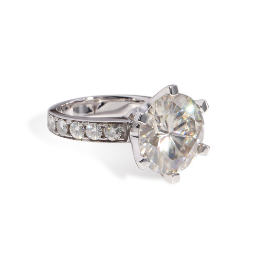 The Bradley Series Ring - Eternal Moissanite 7CT Round Brilliant Cut Engagement Ring - VIDEO BELOW