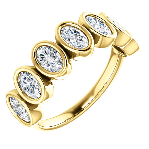 14K White, Yellow or Rose Gold Eternal Moissanite Oval 7 Stone Band