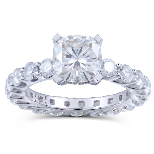 The Alexa Series Ring - Eternal Moissanite 1.10CT Cushion Cut Eternity Style Engagement Ring - VIDEO BELOW