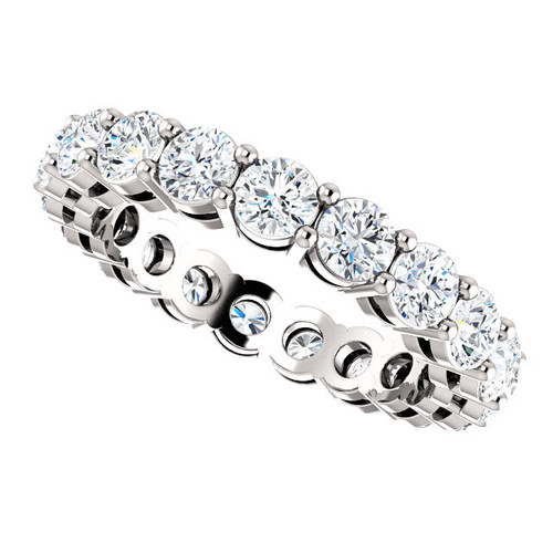3mm Prong Set Eternity Band - 14K White Gold Eternal Moissanite 2.25CTW Round Brilliant Cut
