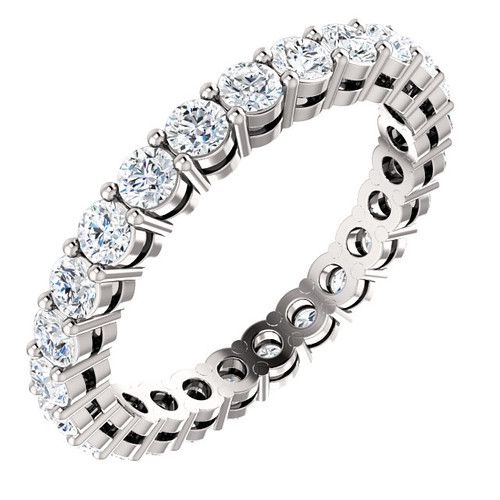 2.5mm Prong Set Eternity Band - 14K White Gold Eternal Moissanite 2CTW Round Brilliant Cut