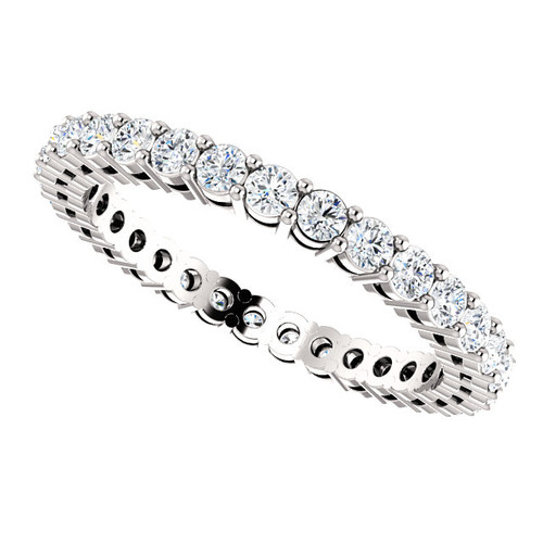 2mm Prong Set Eternity Band - 14K White Gold Eternal Moissanite 1.75CTW Round Brilliant Cut
