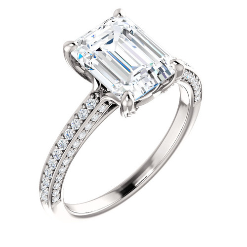 The Trinity Ring Series - Eternal Moissanite 2.50CT Emerald Cut Center Engagement Ring