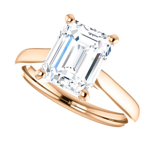 The Amira Ring Series - Eternal Moissanite 2.50CT Emerald Cut Center Catherdral Engagement Ring