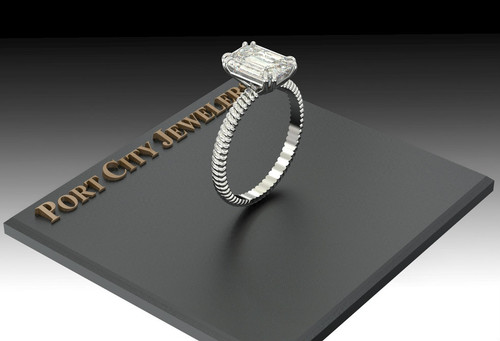 The Jen Ring Series - Eternal Moissanite 1.75ct Emerald Cut Cabled Engagement Ring