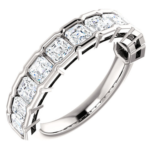 14K Eternal Moissanite 1.50CTW Asscher Cut Half Eternity Band - EF Color