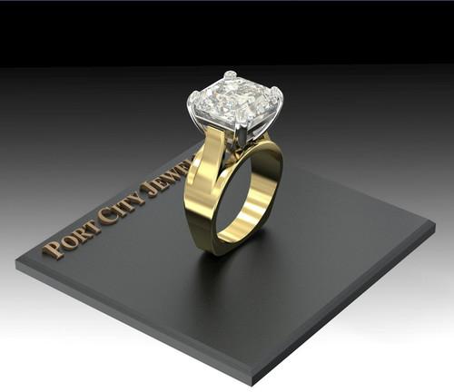 The Julinna Ring Series - Eternal Moissanite 7CT Asscher Cut Cathedral Euro Shank Solitaire