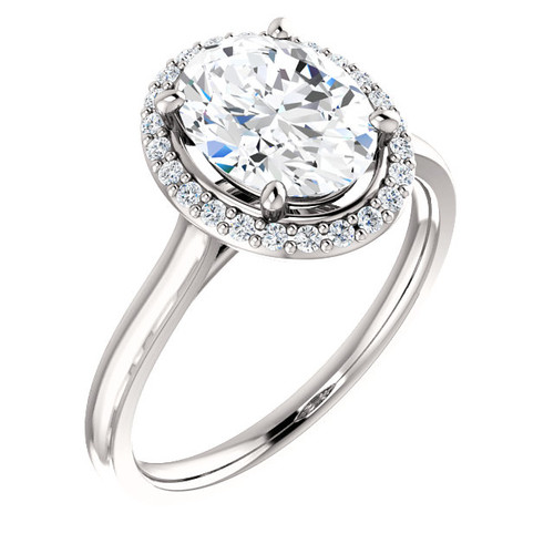 The Lila Ring Series - Eternal  Moissanite 2.10CT Center Oval Cut EF Color with Diamond Halo