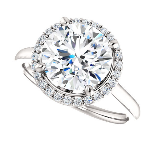 """The Lila Ring Series - Eternal Moissanite 3CT Center Round """"Diamond Cut"""" GH Color with Diamond Halo"""