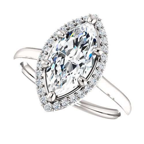 The Lila Ring Series - Eternal Moissanite 1.80CT Center Marquise Cut EF Color with Diamond Halo