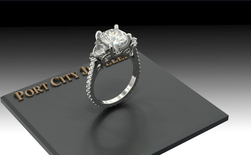 "The Clara Ring Series - Eternal Moissanite 2.5CT Round ""Diamond Cut"" Set W/ VS Diamond Eternity Shank Engagement Ring"