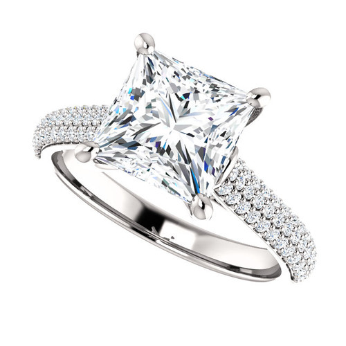 The Addie Ring Series - Eternal Moissanite 7.5mm = 2.50CT Center Princess Cut GH Color & Pave Diamond Sides