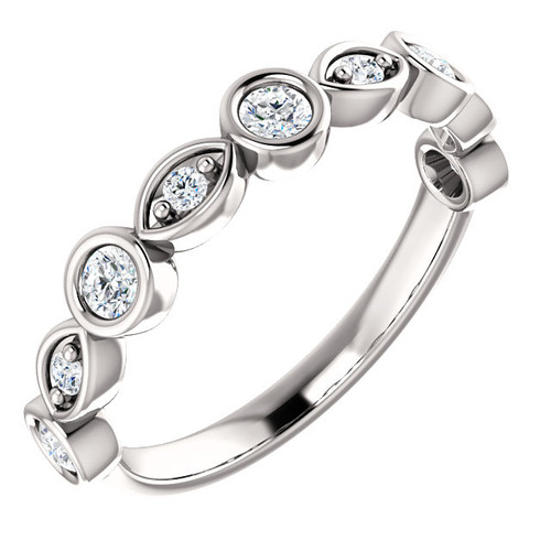 14K White Gold Eternal Moissanite Bezel Set / Prong Set Stackable Band