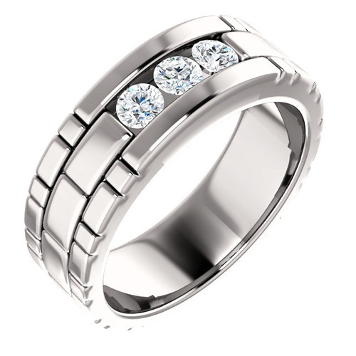 The Bentley  -  Mens Eternal Moissanite 3 Stone Channel Set Wedding Band In 14K