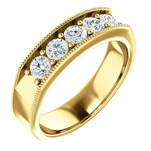 The Roman Ring Series  -  Mens Eternal Moissanite 5 Stone Prong Set Wedding Band In 14K