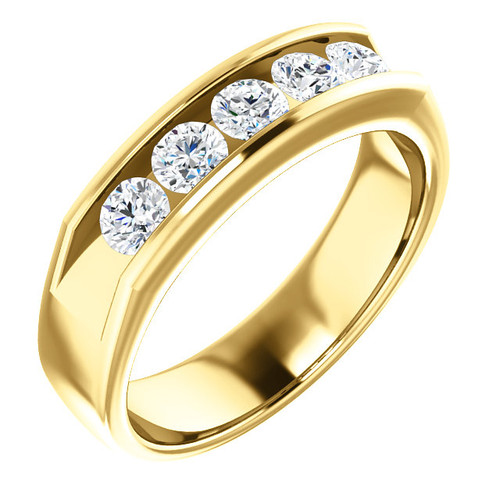 The Jericho Ring Series  -  Mens Eternal Moissanite Round Cut 5 Stone Channel Wedding Band In 14K