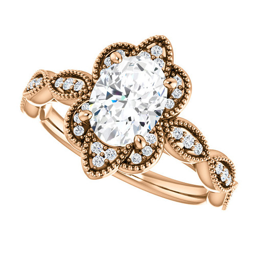 The Matilda Ring Series - Eternal Moissanite Oval Cut 1.50CT  EF Color Diamond Sides Migraine Engagement Ring