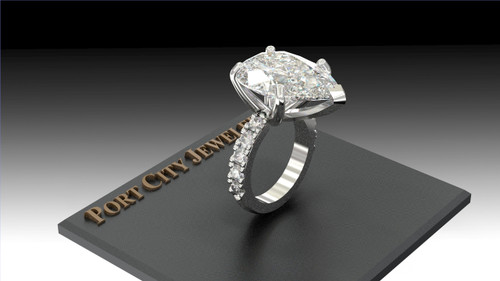 The Carolyn Ring Series - Eternal Moissanite 7CT Pear Shape Set W/ Eternal Moissanite Round Sides