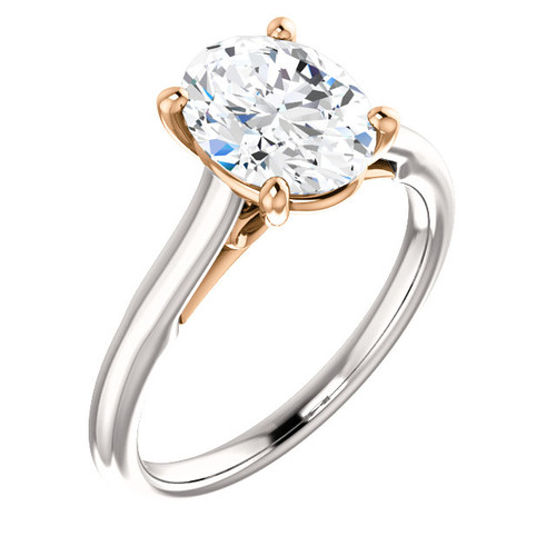 The Bowtie Solitaire - Eternal Moissanite 9x7 = 2.10CT Oval Cut Center - 14K White Gold / Rose Gold