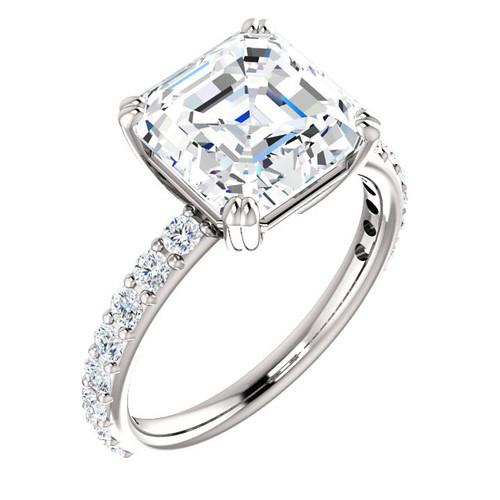 The Beverly Ring Series - Eternal Moissanite 4CT Center Asscher Cut Engagement Ring