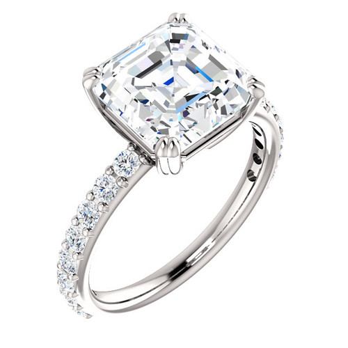 The Beverly Ring Series - Eternal Moissanite 4CT Center Asscher Cut Engagement Ring