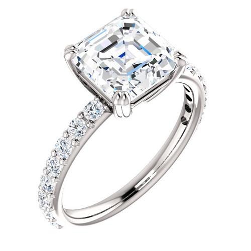 The Beverly Ring Series - Eternal Moissanite 3CT Center Asscher Cut Engagement Ring