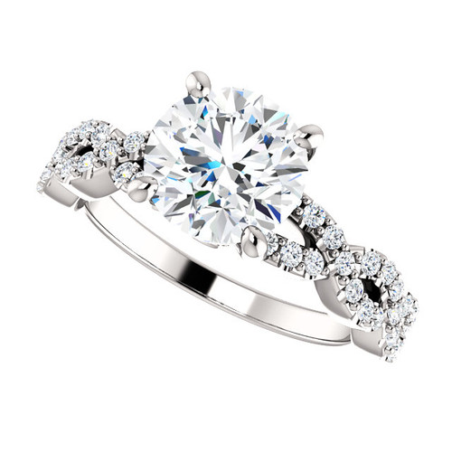 "The Aurora Ring Series - Eternal Moissanite 2CT Center Round ""Diamond Cut"" Engagement Ring"