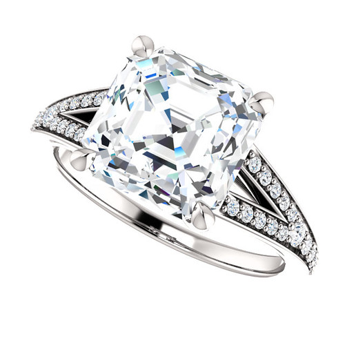 The Zena Ring Series - Eternal Moissanite 4CT Center Asscher Cut Engagement Ring