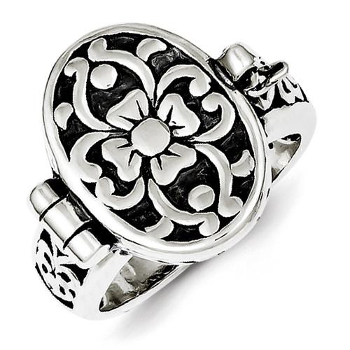 Ladies .925 Sterling Silver Oval Locket Ring