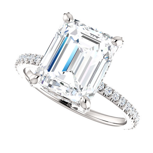 The Tempest Ring Series - Eternal Moissanite 3.5CT Center Emerald Cut Engagement Ring