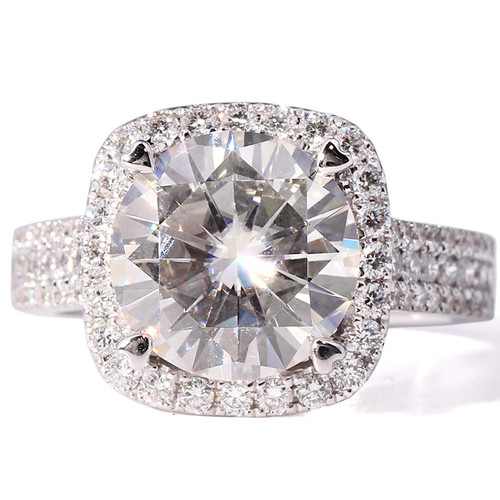 The Jennie Ring Series - Eternal Moissanite 5CT = 11mm Round Brilliant Cut Engagement Ring - VIDEO BELOW