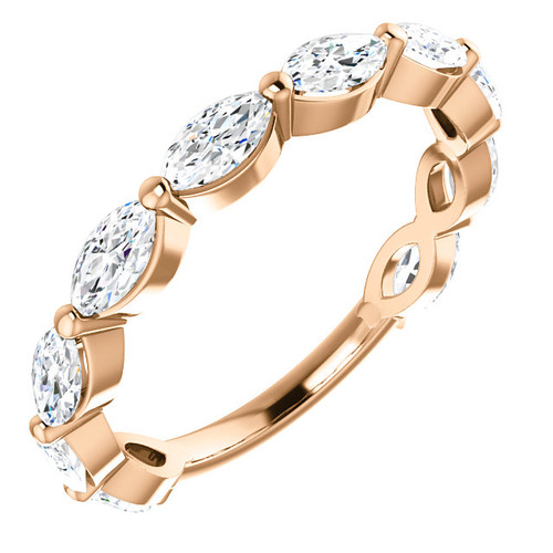 The Jessie Band - Eternal Moissanite 10 Stone Marquise Cut Wedding Anniversary Band 14K - 1.10CTW